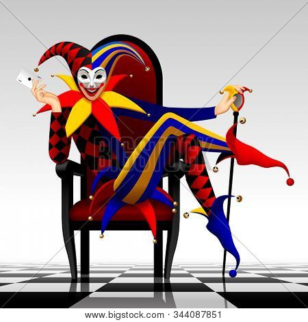 Joker seated in the red chair with stick and playing card in his hands on the chess floor. Three Dimensional stylized drawing
