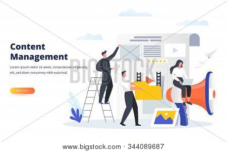 Content Management Business Concept. Experts Fill The Web Page With Engaging Content. Can Use For Ba