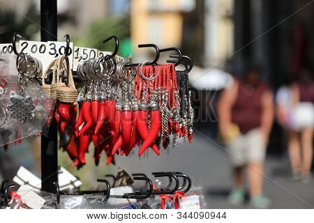 Red Cornets Such As Talismans For Sale In Naples City In Italy