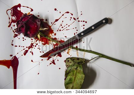 A Bloody Rose With The Knife On A White Background. A Burgundy Rose And A Knife In The Blood