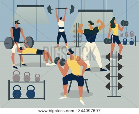 Training In The Gym With Barbells And Dumbbells, Men Exercise With Different Barbell Sets. Fitness A