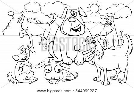 Black And White Cartoon Illustration Of Dogs And Puppies Pet Animal Comic Characters Group Coloring