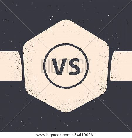 Grunge Vs Versus Battle Icon Isolated On Grey Background. Competition Vs Match Game, Martial Battle