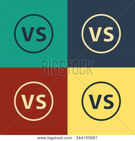 Color Vs Versus Battle Icon Isolated On Color Background. Competition Vs Match Game, Martial Battle