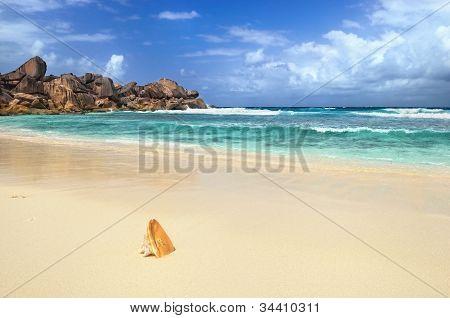 Granite Rocky Beaches On Seychelles Islands