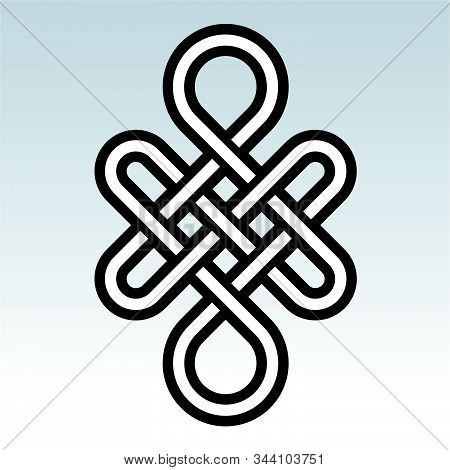 Infinity - Mystical Knot Of Longevity And Health, Sign Good Luck Feng Shui, Vector The Infinity Knot