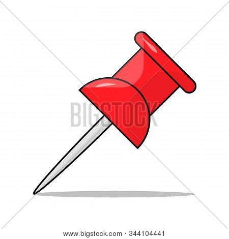 Red Office Pin Icon Business Stationery Notice Board Pushpin Symbol Vector Illustration Isolated