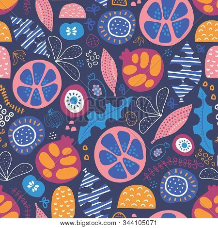 Abstract Tropical Floral Fruit Seamless Vector Pattern. Repeating Background With Stylized Leaves, F