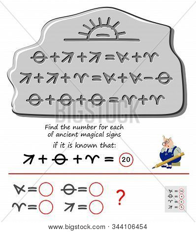 Mathematical Logic Puzzle Game For Children And Adults. Find The Number For Each Of Ancient Magical