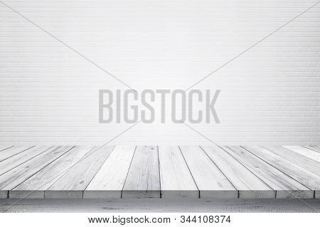 Empty Wooden Table Isolated On White Brick Background, Design Wood Terrace White Surface. 3d Illustr