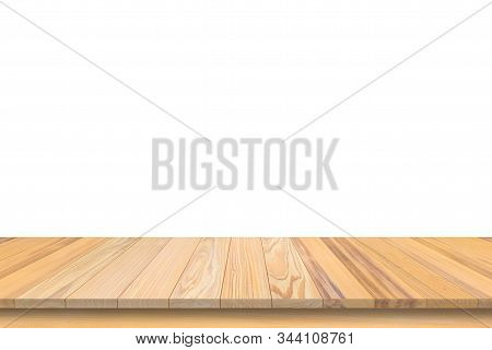 Empty Wooden Table Top Isolated On White Background, Design Wood Terrace White Surface. 3d Illustrat