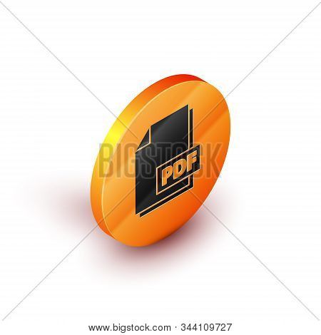 Isometric Pdf File Document. Download Pdf Button Icon Isolated On White Background. Pdf File Symbol.