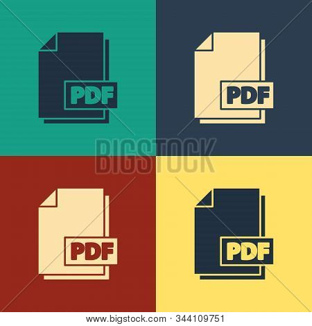 Color Pdf File Document. Download Pdf Button Icon Isolated On Color Background. Pdf File Symbol. Vin