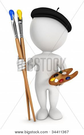 3d white people painter