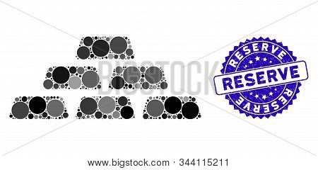 Mosaic Treasure Bricks Icon And Rubber Stamp Seal With Reserve Phrase. Mosaic Vector Is Formed From