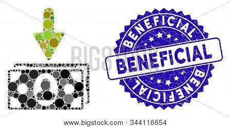 Mosaic Income Banknotes Icon And Rubber Stamp Seal With Beneficial Phrase. Mosaic Vector Is Designed