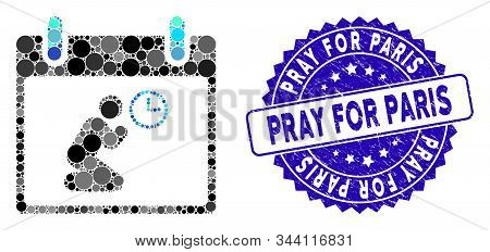 Mosaic Pray Time Calendar Day Icon And Corroded Stamp Watermark With Pray For Paris Phrase. Mosaic V