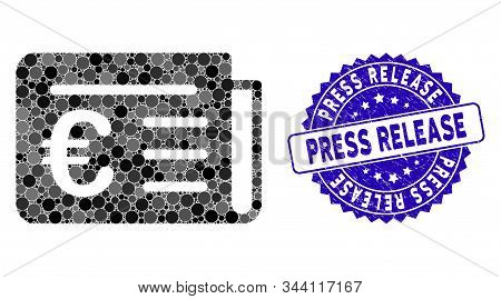 Mosaic Euro Banking News Icon And Corroded Stamp Seal With Press Release Text. Mosaic Vector Is Crea