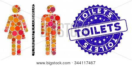 Mosaic Toilets Icon And Grunge Stamp Seal With Toilets Phrase. Mosaic Vector Is Created From Toilets