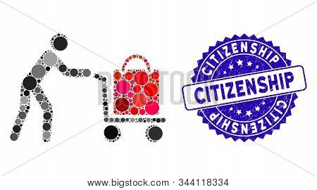 Mosaic Passenger Trolley Icon And Grunge Stamp Seal With Citizenship Phrase. Mosaic Vector Is Design