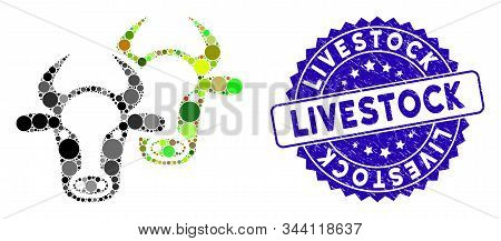 Mosaic Livestock Icon And Distressed Stamp Seal With Livestock Caption. Mosaic Vector Is Formed With