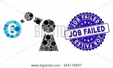 Mosaic Manipulator Icon And Corroded Stamp Seal With Job Failed Caption. Mosaic Vector Is Formed Wit