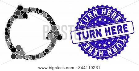 Collage Rotate Icon And Rubber Stamp Seal With Turn Here Caption. Mosaic Vector Is Created With Rota