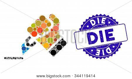 Mosaic Cutting Hand Icon And Rubber Stamp Seal With Die Phrase. Mosaic Vector Is Designed With Cutti