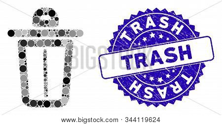Mosaic Trash Icon And Corroded Stamp Seal With Trash Phrase. Mosaic Vector Is Formed With Trash Icon