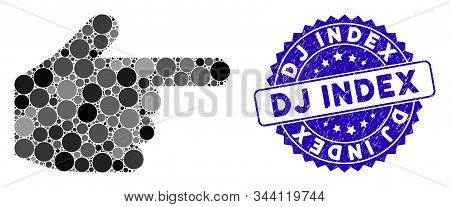 Mosaic Index Finger Icon And Grunge Stamp Watermark With Dj Index Caption. Mosaic Vector Is Created