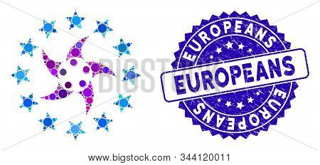 Mosaic Europeans Collaboration Icon And Corroded Stamp Seal With Europeans Caption. Mosaic Vector Is