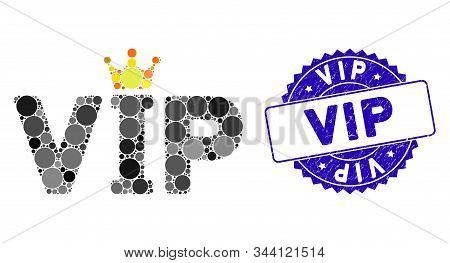 Mosaic Vip Icon And Grunge Stamp Seal With Vip Caption. Mosaic Vector Is Designed With Vip Icon And