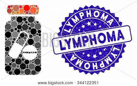 Mosaic Drugs Phial Icon And Rubber Stamp Watermark With Lymphoma Caption. Mosaic Vector Is Designed