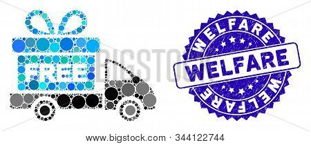 Mosaic Gift Delivery Icon And Grunge Stamp Watermark With Welfare Phrase. Mosaic Vector Is Created W