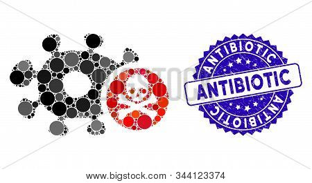 Collage Microbe Antibiotic Icon And Distressed Stamp Seal With Antibiotic Caption. Mosaic Vector Is