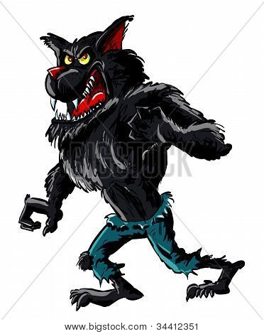 Cartoon werewolf with claws and teeth. Isolated on white
