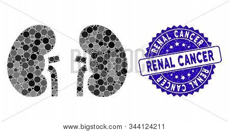 Mosaic Kidneys Icon And Rubber Stamp Watermark With Renal Cancer Text. Mosaic Vector Is Formed With
