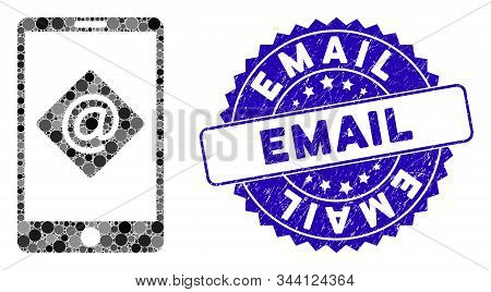 Mosaic Mobile Email Icon And Corroded Stamp Seal With Email Phrase. Mosaic Vector Is Created From Mo