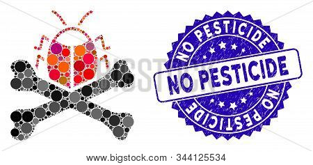 Mosaic Pesticide Icon And Grunge Stamp Watermark With No Pesticide Phrase. Mosaic Vector Is Formed W