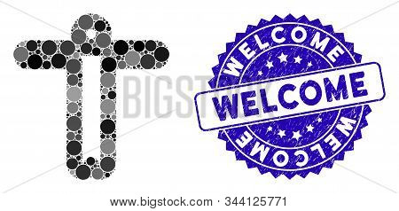 Mosaic Welcome Person Icon And Rubber Stamp Seal With Welcome Phrase. Mosaic Vector Is Designed With