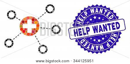 Mosaic Medical Links Icon And Rubber Stamp Seal With Help Wanted Caption. Mosaic Vector Is Designed