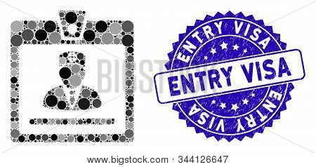 Mosaic Doctor Badge Icon And Corroded Stamp Seal With Entry Visa Phrase. Mosaic Vector Is Composed W