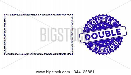 Mosaic Double Rectangle Frame Icon And Distressed Stamp Watermark With Double Text. Mosaic Vector Is