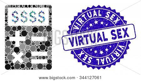 Collage Business Calculator Icon And Grunge Stamp Seal With Virtual Sex Text. Mosaic Vector Is Compo