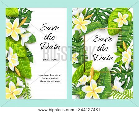 Invitations With Jungle Leaves, Tropical Flower Frangipani. Vector Illustration Summer Templates. Pl