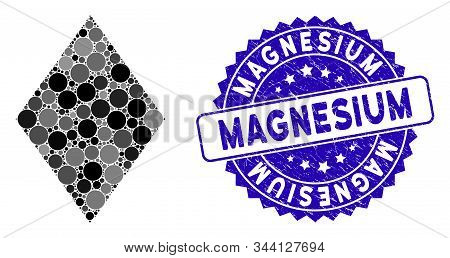 Collage Filled Rhombus Icon And Rubber Stamp Seal With Magnesium Phrase. Mosaic Vector Is Designed W