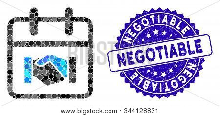 Mosaic Contract Day Icon And Distressed Stamp Watermark With Negotiable Text. Mosaic Vector Is Creat