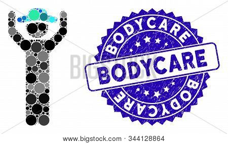 Mosaic Gentleman Hands Up Icon And Grunge Stamp Seal With Bodycare Text. Mosaic Vector Is Formed Fro