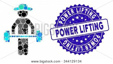 Collage Gentleman Power Lifting Icon And Rubber Stamp Watermark With Power Lifting Text. Mosaic Vect