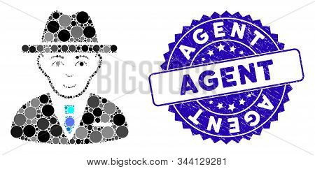 Mosaic Agent Icon And Distressed Stamp Seal With Agent Phrase. Mosaic Vector Is Created From Agent I